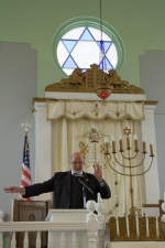 Stockton President Herman J. Saatkamp in the Woodbine Brotherhood Synagogue