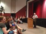 Child Holocaust Survivor Fred Spiegel Speaking to Millville High School Students.
