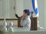 David Tzorfas blowing the Shofar