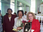 Right to Left: Jane Stark, Mrs. Beatrice Payne, 2008 Lifetime Achievement Award Recipient, and Julia Hankerson, 2007 'Sheroe' Awardee